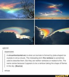 """sixpenceee: """"A circumhorizontal arc is when an ice-halo is formed by plate-shaped ice crystals in cirrus clouds. The misleading term fire rainbow is sometimes used to describe them. All Nature, Amazing Nature, Nature Quotes, Pretty Pictures, Cool Photos, Photo Trop Belle, Beautiful World, Beautiful Places, Places To Travel"""