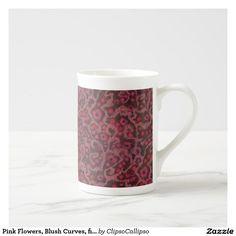 Pink Flowers, Blush Curves, fiber art felt pattern Tea Cup