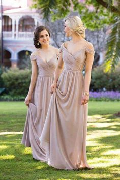 A Line Floor Length V Neck Off Shoulder Chiffon Cheap Bridesmaid Dresses  B204. Off Shoulder Bridesmaid DressChiffon ... e0a3f3d655dd