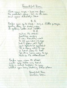 """thebeatals: """" John Lennon's hand written lyrics for """"Beautiful Boy."""" """""""