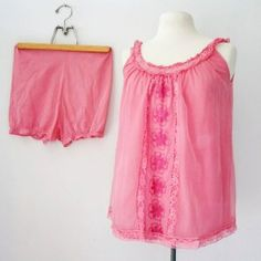 vintage 50s Upcycled Floral Lace Petal Pink Baby Doll and Bloomers Nightie Set