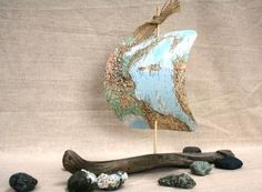 Driftwood Sailboat with Map Sail by TheSeaMerchant on Etsy, $34.00