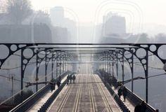 bridge, brig, causeway, infinite, endless, boundless, infinitive, ilimitable, mist, fog, haze, cloud, blur, city, skyline, oporto, portugal @mostphotos