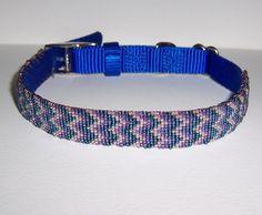 "Flame Stitch (Bargello) Bead Loom Woven Dog Collar 17"" Long #Handmade"