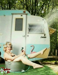 Camping and glamping in a tin tub HA This is too cute.      www.mermaidfabricshop.com