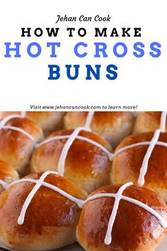 Sticky and delicous Hot Cross Buns step by step. Learn how to make these Easter and Good Friday favorites at home! Cross Buns Recipe, Bun Recipe, Caribbean Recipes, Caribbean Food, Coconut Buns, Guyanese Recipes, Fish Stew, Hot Cross Buns, My Cookbook