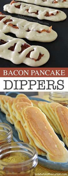 Pancake Dippers -- Quick, fast and easy breakfast recipe ideas for a crowd. - Easy breakfast ideas -Bacon Pancake Dippers -- Quick, fast and easy breakfast recipe ideas for a crowd. - Easy breakfast ideas - One Top Caramel French Toast Breakfast For A Crowd, Food For A Crowd, Breakfast Dishes, Bacon Breakfast, Breakfast Crockpot, Breakfast Ideas For Kids, Brunch Ideas For A Crowd, Breakfast Pancakes, Camping Breakfast
