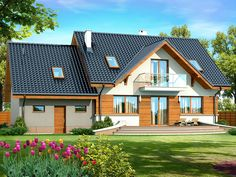 DOM.PL™ - Projekt domu DN KARMELITA GOLD 2M CE - DOM PC1-56 - gotowy koszt budowy Malaga, House Plans, Sweet Home, House Design, Cabin, How To Plan, House Styles, Home Decor, Thailand