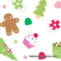 Fabric... Christmas Candy Main on White Riley Blake