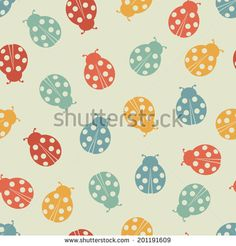 Seamless pattern with ladybugs. Vector illustration. - stock vector