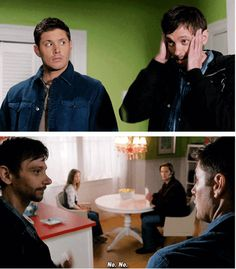 [SET OF GIFS] HAHA Dean's double-take in the first GIF<3  7x08 Season Seven, Time for a Wedding!