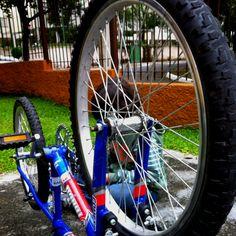 É de pequeno que se aprende a cuidar da bicicleta :-) (Foto de @verparacrescer)