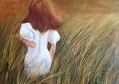 Correre nell'erba, olio su tela mis 35x50