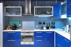 Image result for bright blue kitchens