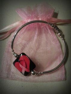 Breast cancer awareness stretch bangle bracelet.