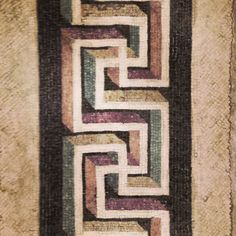Colourful geometric roman mosaic. Great border idea
