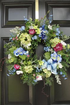 Country Wreath Blue and Lime Green Spring Door Wreaths, Summer Wreath, Wreaths For Front Door, Front Porch, Diy Wreath, Grapevine Wreath, Turquoise Wreath, Porch Decorating, Summer Decorating