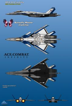 """I'll show you some fun!"" - Camilla - My tribute for the newest ACE COMBAT series: ACE COMBAT Infinity, The sky is YOURS! The QFA-44 Carmilla is a modified variant of the CFA-44 Nosf..."