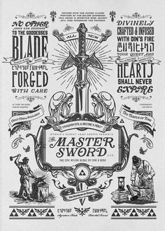 My vintage advertisement illustration and design for the Master Sword inspired by Legend of Zelda gaming series