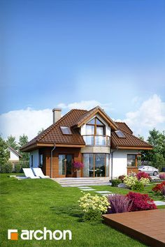 projekt Dom w rukoli (N) dodatkowa wizualizacja Two Story House Plans, Two Story Homes, Country House Plans, Style At Home, Cottage Design, House Design, Home Design Plans, Home Fashion, Home Decor Inspiration