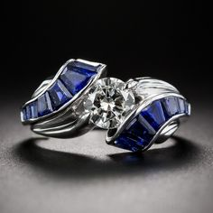 Tiffany & Co. .70 Carat Diamond and Sapphire Ring