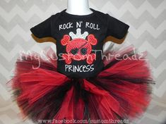 Rock n Roll Princess Skull Sequin Applique Shirt AND Tutu, Punk Girl/baby