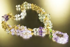 Hummingbird bracelets make necklace. Green and purple amethyst. Vermeil. Stalactite. jbEbert on Etsy.