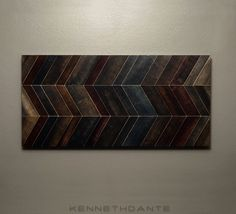 Reclaimed Wood Art Chevron Mosaic Wall Hanging Wooden Earthy Neutrals Multicolored 30 X 15 on Etsy, $200.00