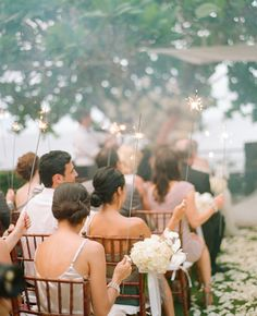 This is a fun alternative to the grand exit...do the sparklers at the end of the ceremony
