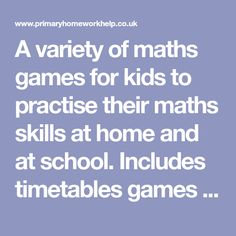 A variety of maths games for kids to practise their maths skills at home and at school. Includes timetables games too! Free Math Games, Math Games For Kids, Math Websites, Cool Websites, Math Skills, Math Lessons, Summer Courses, Math Help