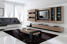 Gallery 12 Wall Unit in Mocha Lacquer and Jet Graffiti by Milmueble