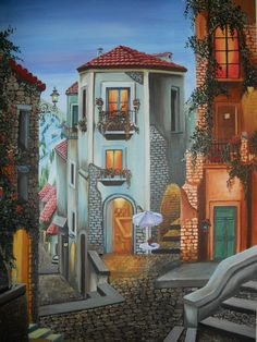 """Amazing artwork of """"Spanish backlanes"""", made by India's famous artist """"Harpreet Kaur"""". His original artwork is created on """"Acrylic on Canvas"""" medium. You can find wide collection of Landscape paintings at Indian Art Ideas."""