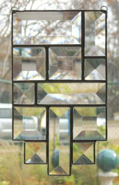 Modern Clear Beveled Stained Glass Suncatcher by Nanantz on Etsy Stained Glass Projects, Stained Glass Art, Beveled Glass, Mosaic Glass, Stained Glass Suncatchers, Practical Gifts, Family Gifts, Wind Chimes, Diy And Crafts