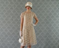 Elegant cream lace flapper dress with short sleeves, Great Gatsby dress, Roaring 20s dress, Downton Abbey dress, high tea dress, 20s wedding...