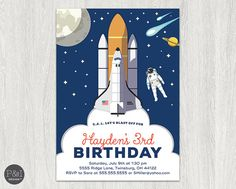 Blast Off Space and Astronauts Birthday Party Invitation | Any Age |  DIY | Customized Printable