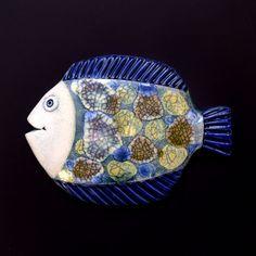Ryba Závěsná keramická ryba. Rozměr 15,5 x 11,5 cm.