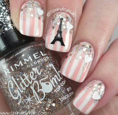 Eiffel Tower Paris nail art, striped nails