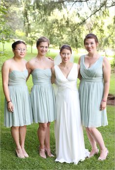 pastel mint bridesmaids-completely on trend for spring weddings! Pastel Bridesmaid Dresses, Wedding Bridesmaids, Wedding Dresses, Wedding Wishes, Wedding Bells, Wedding Pins, Wedding Ideas, Dc Weddings, Spring Weddings