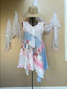 XL / Upcycled Patcwork Peasant Girl Dress / Gypsy by Cathrineann