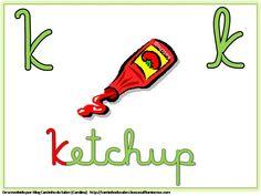 Alfabeto Colorido com Letra Cursiva para Imprimir K