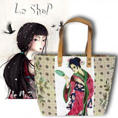 Asian Tote, #asia #geisha #needlepoint leshopdemoz.com