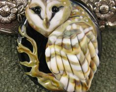 NEW Kerribeads Lampwork Barn Owl Focal Bead