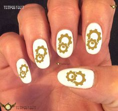 awesome Steampunk Clockwork Golden Gears Pocket Watch Nail Polish Nail Art Nails Men or Women Manicure