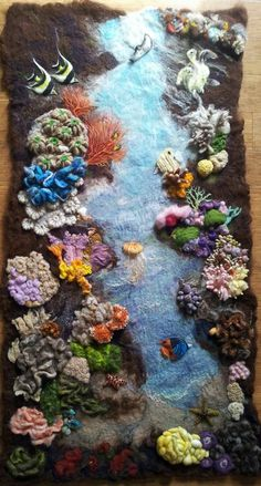 """Under the ocean"" Needle felt on wet felt by WoollyBirdsAndFairy"" 61x114 cm"