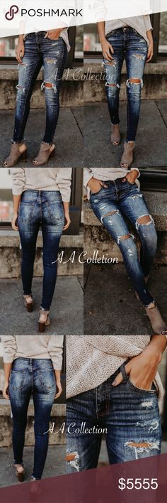 "Distressed denim skinny jeans 0-15 23-31 Jeans denim distressed skinny Dark wash. Frayed ankle. Super stretchy. super flattering skinnies. Run true to size. Inseam is (0-15)29""-30"" Rise is(0-15) 8""-10"" 98/2 cotton/spandex. Jeans Skinny"
