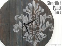 Love this idea!!!!!! So much potential. Large Stencilled Pallet Clock Tutorial » Flamingo Toes