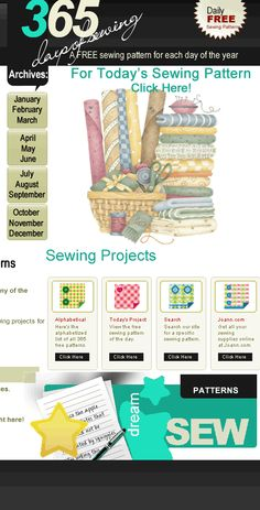 365 Days Of Sewing  ... A free sewing pattern every day of the year.