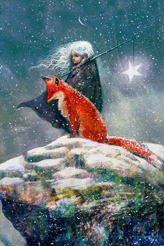 Sebastian McKinnon — Snow-haired Star Child with Fox. Illustration from Story 'Courage, My Love' by Liam McKinnon, 2015 Art And Illustration, Landscape Illustration, Fantasy Kunst, Fantasy Art, Art Fox, Photo D Art, Inspiration Art, Whimsical Art, Fairy Tales