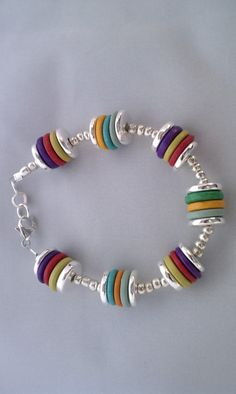 Mykonos Ceramc Bead Bracelet with Sterling Silver by theBeadnik, $54.00