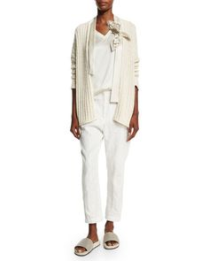 -6AAE Brunello Cucinelli  Paillette-Stripe Cropped Trousers, White Ribbed Cardigan W/Flower Detail, Butter Simple V-Neck Satin Tank, Vanilla